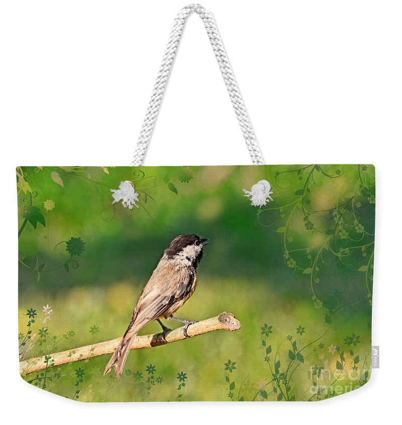Nature Weekender Tote Bag featuring the photograph Morning Song Chickadee by Debbie Portwood