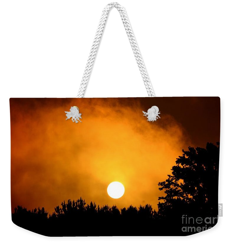 Morning Weekender Tote Bag featuring the photograph Morning's Mysterious Sunrise by Maria Urso
