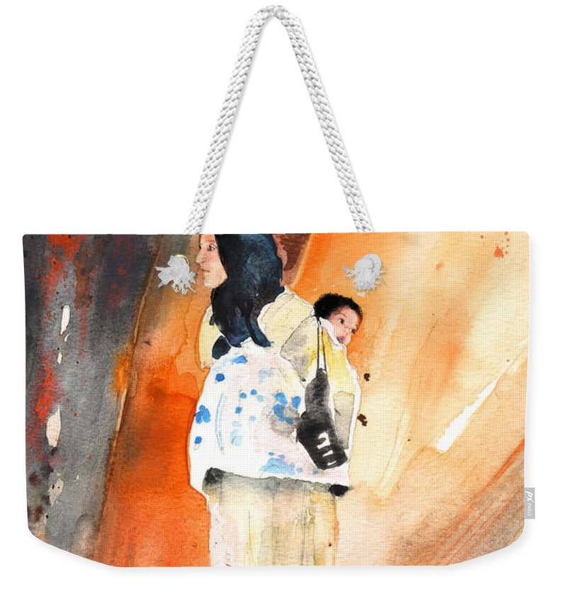 Travel Weekender Tote Bag featuring the painting Moroccan Woman Carrying Baby by Miki De Goodaboom