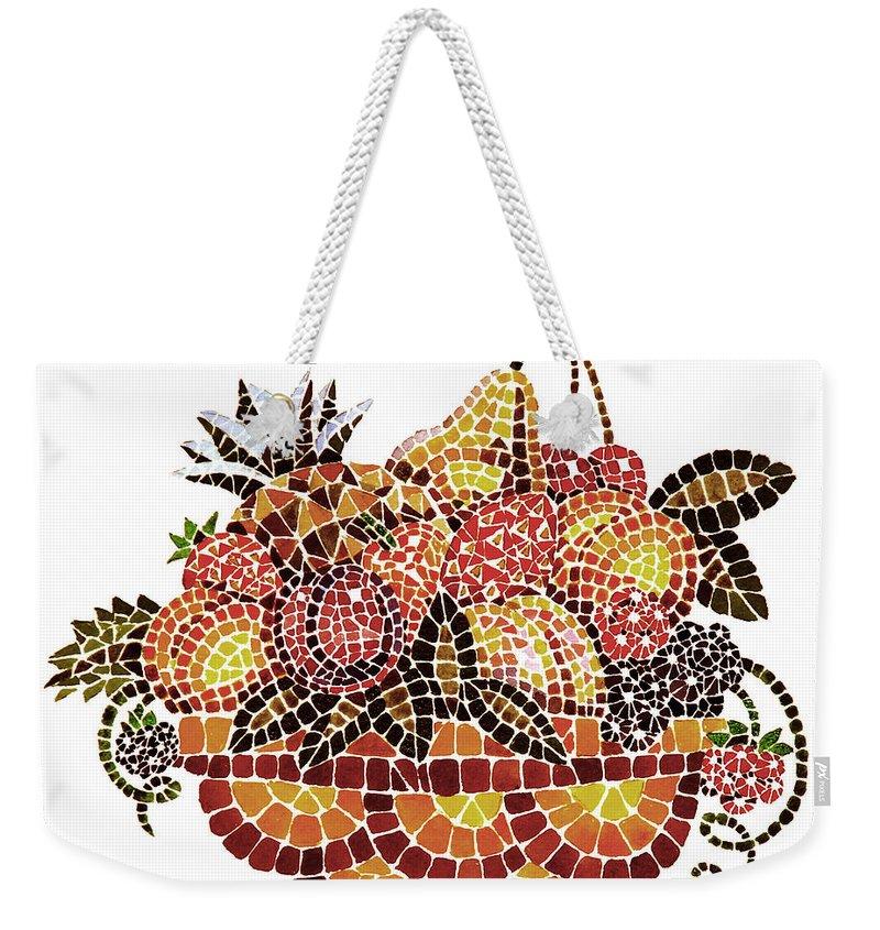 Mosaic Weekender Tote Bag featuring the painting Mosaic Fruits by Irina Sztukowski