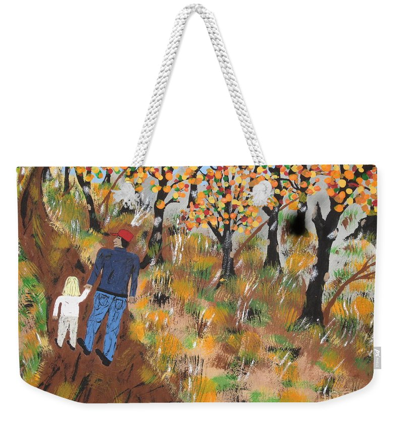 Autumn Weekender Tote Bag featuring the painting Mosscreek Trail by Jeffrey Koss