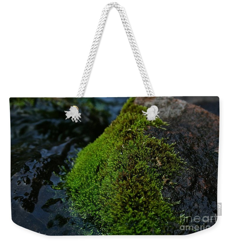 Outdoors Weekender Tote Bag featuring the photograph Mossy River Rock by Susan Herber