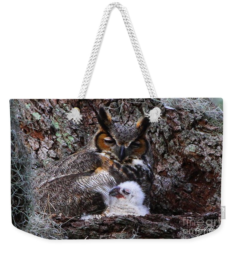 Great Horned Owl Weekender Tote Bag featuring the photograph Mother And Baby Owl by Barbara Bowen