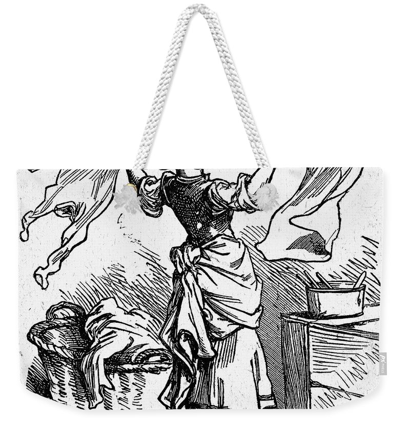 19th Century Weekender Tote Bag featuring the photograph Mother Goose: Maid by Granger