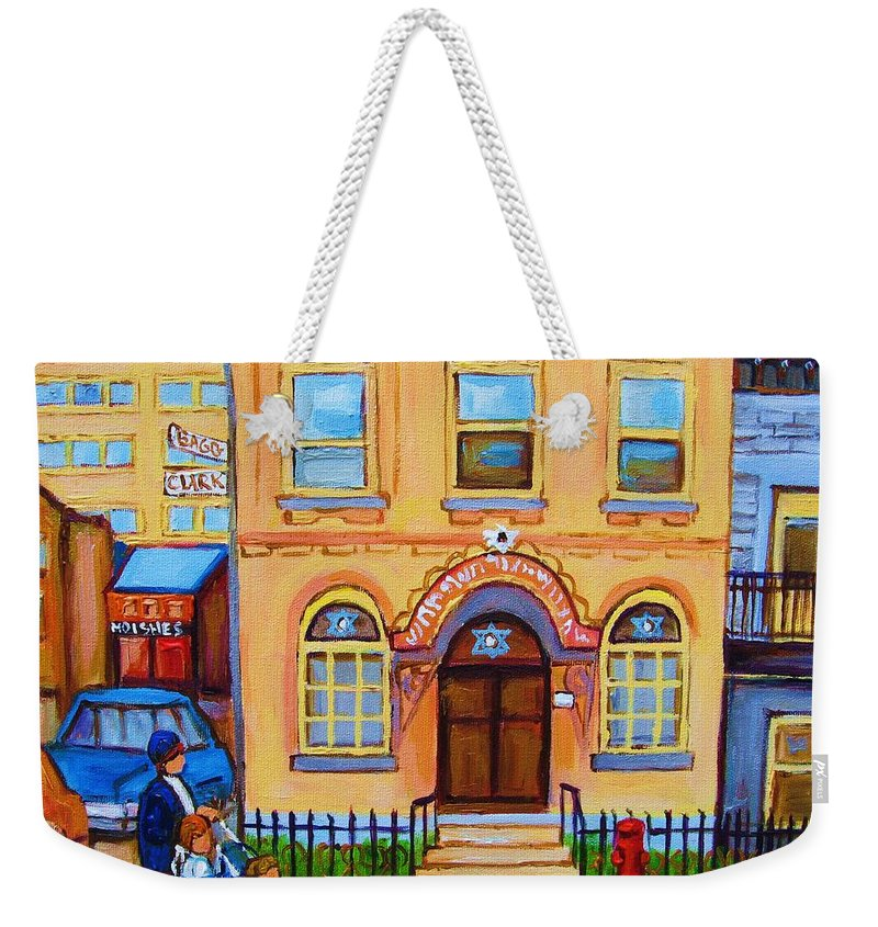Cityscape Weekender Tote Bag featuring the painting Mother With Baby Carriage by Carole Spandau