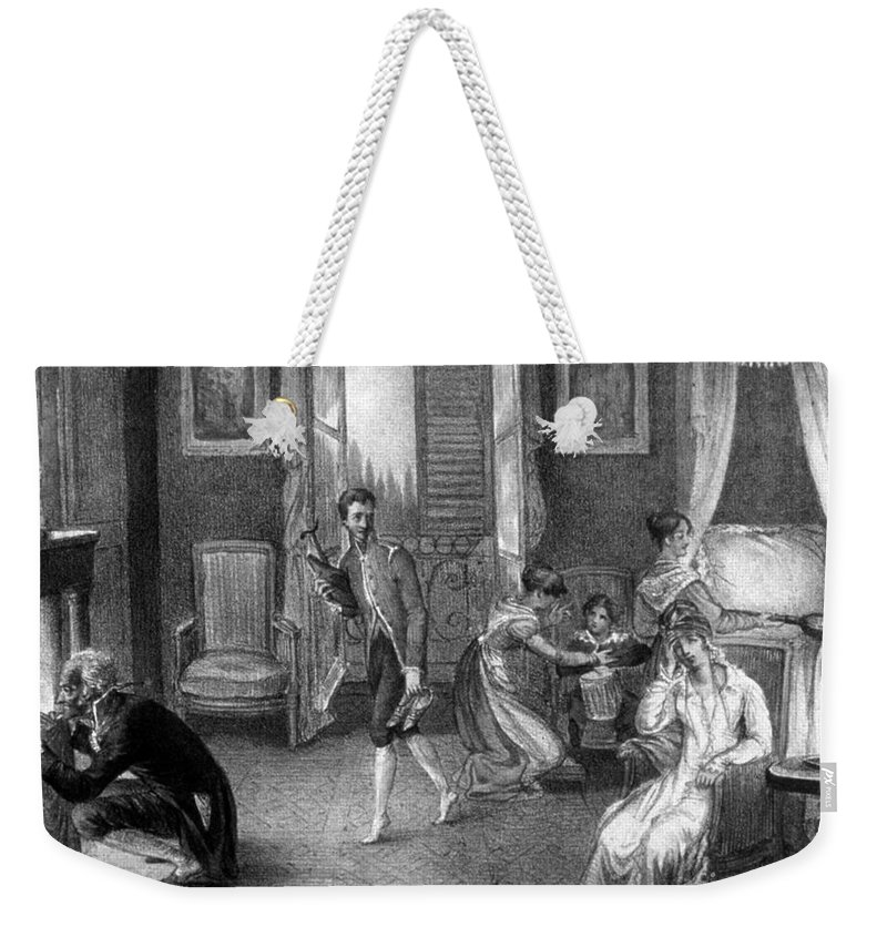 History Weekender Tote Bag featuring the photograph Mother With Migraine Helped By Family by Science Source