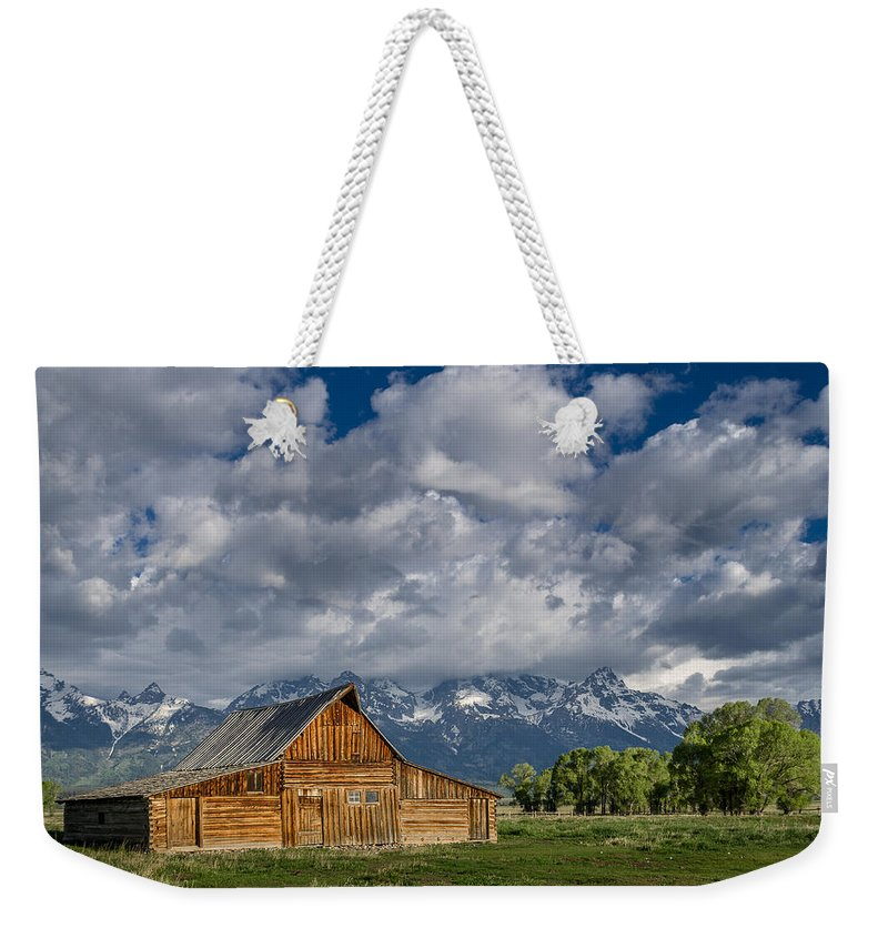 Grand Tetons National Park Weekender Tote Bag featuring the photograph Moulton Barn Morning by Greg Nyquist
