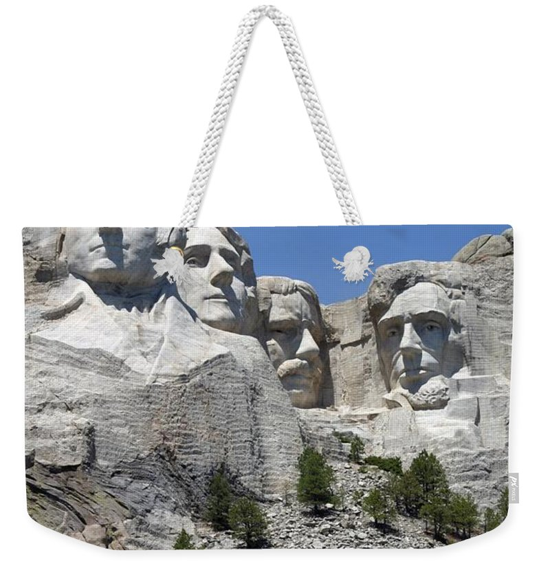 Mount Rushmore Weekender Tote Bag featuring the photograph Mount Rushmore Vertical by Living Color Photography Lorraine Lynch