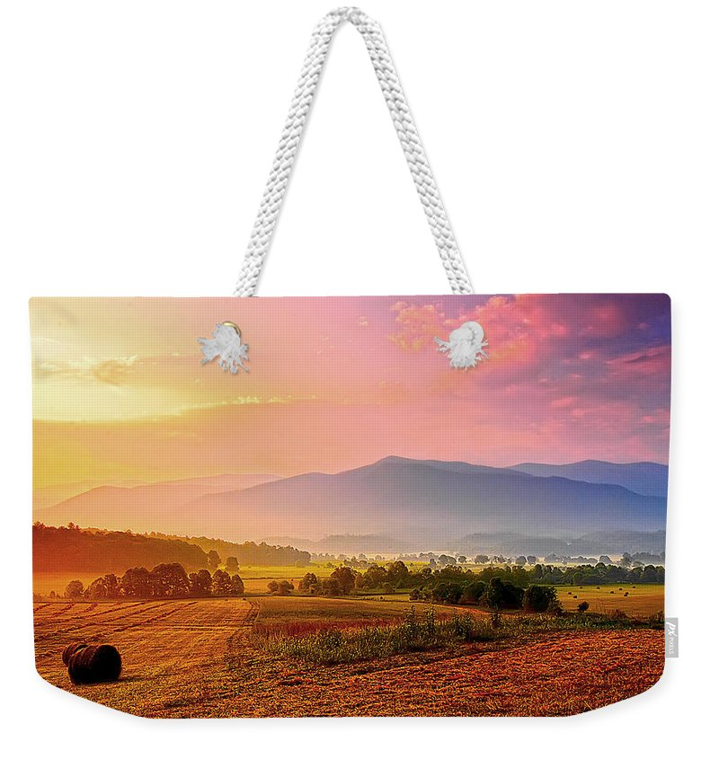 Cades Cove Weekender Tote Bag featuring the photograph Mountain Morning Farm In Cades Cove by Randall Branham