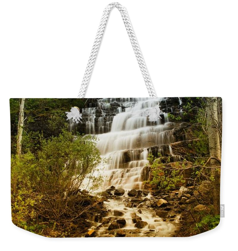 Waterfall Weekender Tote Bag featuring the photograph Mountain Waterfall by Jeff Swan
