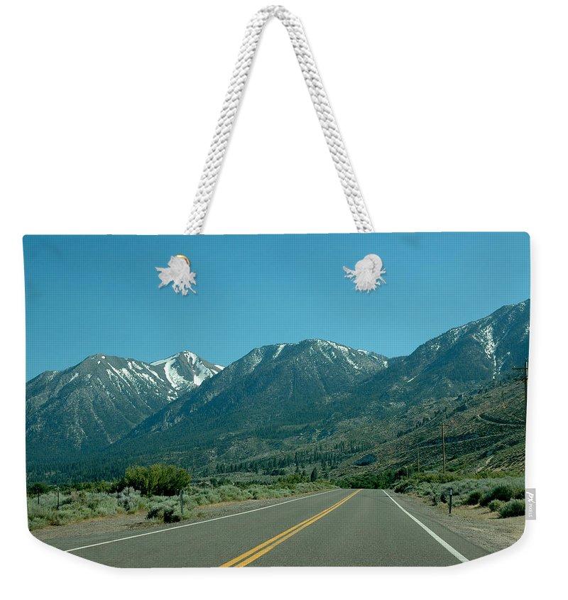 Snow Weekender Tote Bag featuring the photograph Mountains Ahead by LeeAnn McLaneGoetz McLaneGoetzStudioLLCcom