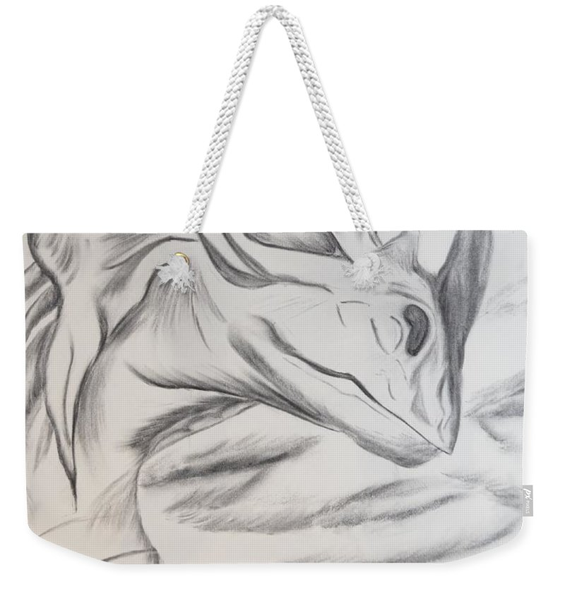 Dragon Weekender Tote Bag featuring the drawing My Dragon by Maria Urso