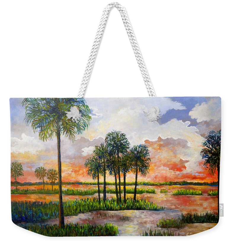 Sunset Weekender Tote Bag featuring the painting Myakka Sunset by Lou Ann Bagnall