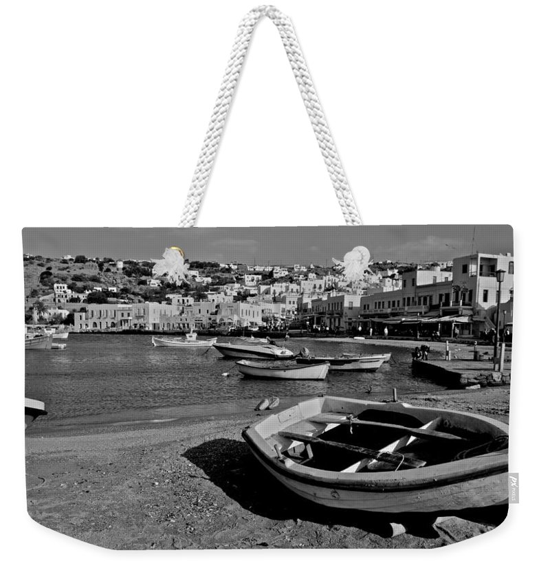 Mykonos Weekender Tote Bag featuring the photograph Mykonos Boats by Eric Tressler