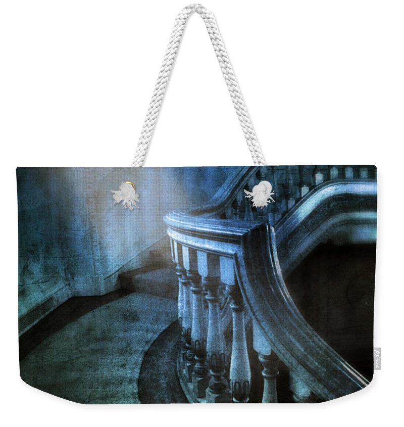 Stairs Weekender Tote Bag featuring the photograph Mysterious Stairway In Old Mansion by Jill Battaglia