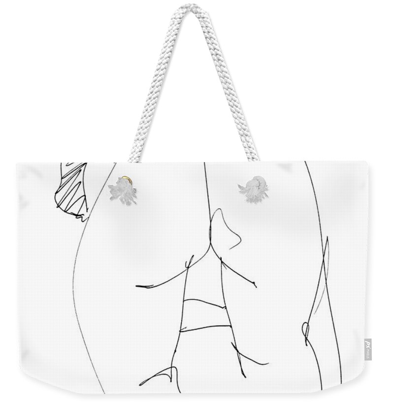 Females Weekender Tote Bag featuring the drawing Naked-female-art-22 by Gordon Punt