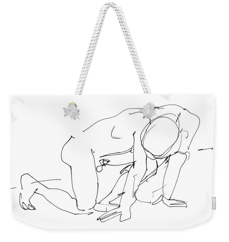 Male Weekender Tote Bag featuring the drawing Naked-man-art-18 by Gordon Punt
