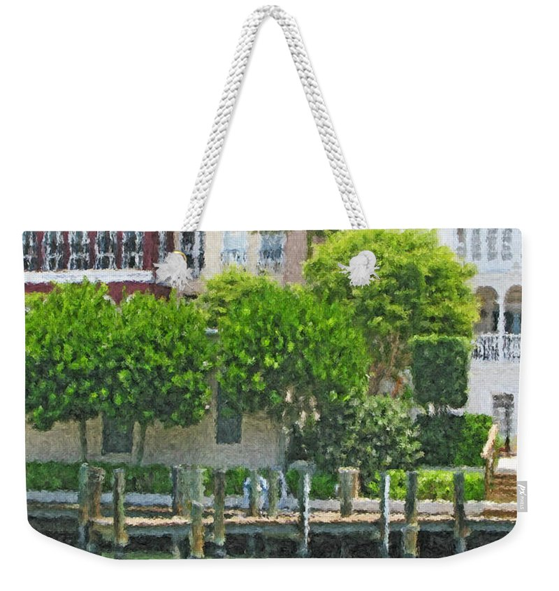 Green Weekender Tote Bag featuring the digital art Napolean Waterway by Peggy Starks
