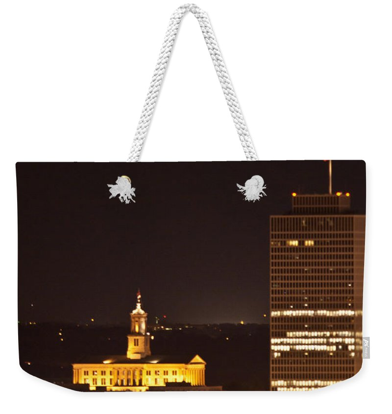 Nashville Weekender Tote Bag featuring the photograph Nashville Cityscape 5 by Douglas Barnett