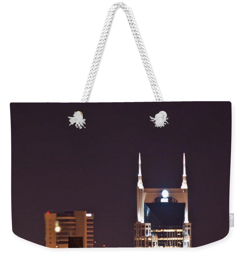 Nashville Weekender Tote Bag featuring the photograph Nashville Cityscape 6 by Douglas Barnett