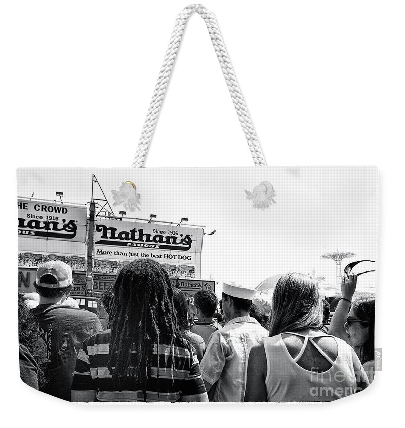 Nathan's Weekender Tote Bag featuring the photograph Nathan's Crowd In Coney Island 2 by Madeline Ellis