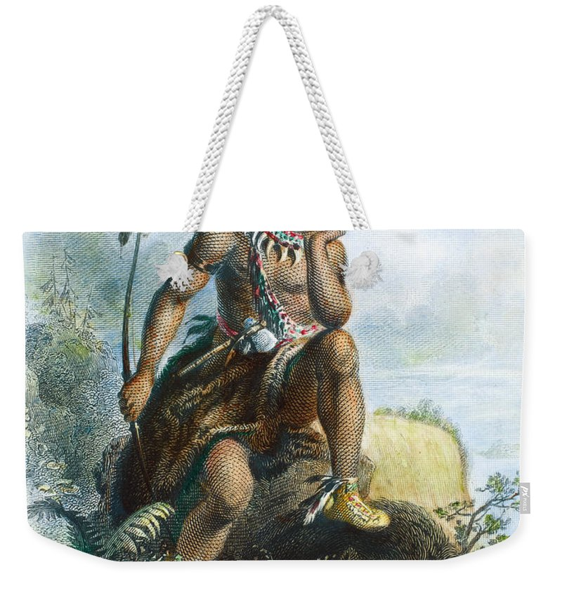 1870 Weekender Tote Bag featuring the photograph Native American Hunter by Granger