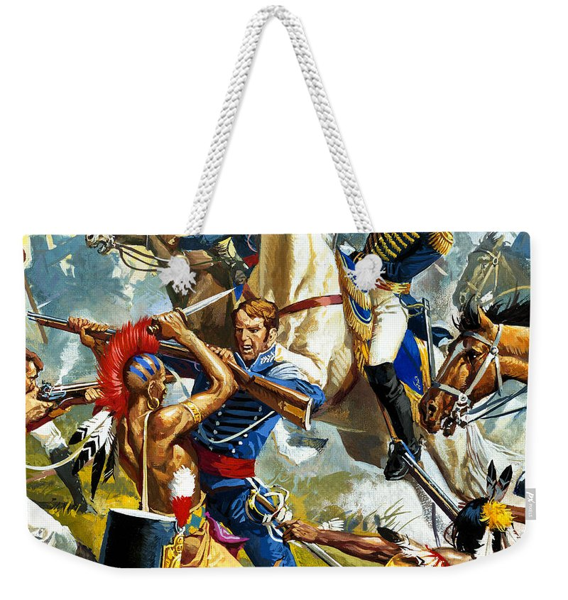 Indian; Soldier; Weapon; Revolution; Gun; Sword; Military Uniform; Battle; Fighting; Natives Weekender Tote Bag featuring the painting Native American Indians Vs American Soldiers by Severino Baraldi