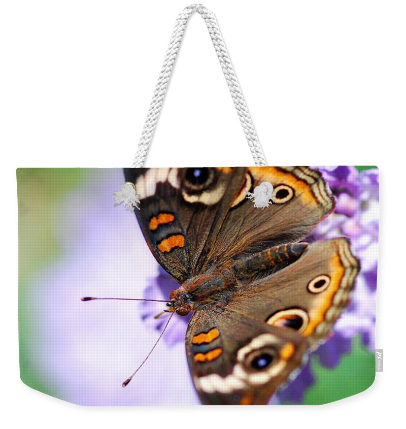 Buckeye Butterfly Weekender Tote Bag featuring the photograph Natural Beauty by Saija Lehtonen