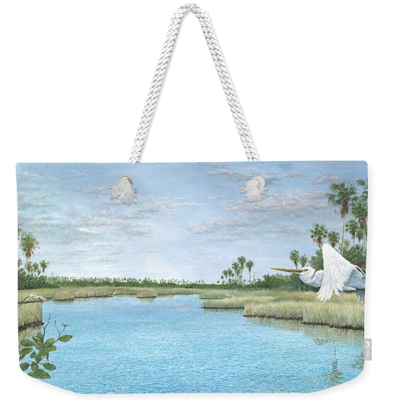 Egret Weekender Tote Bag featuring the painting Nature Coast by Kevin Brant