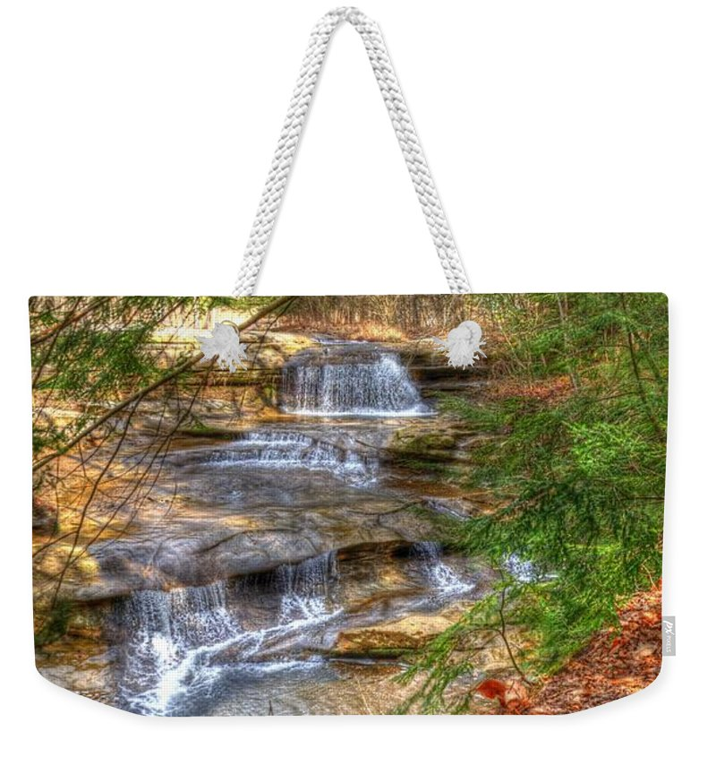 Waterfall Weekender Tote Bag featuring the photograph Natures Shadows And Light by Shirley Tinkham