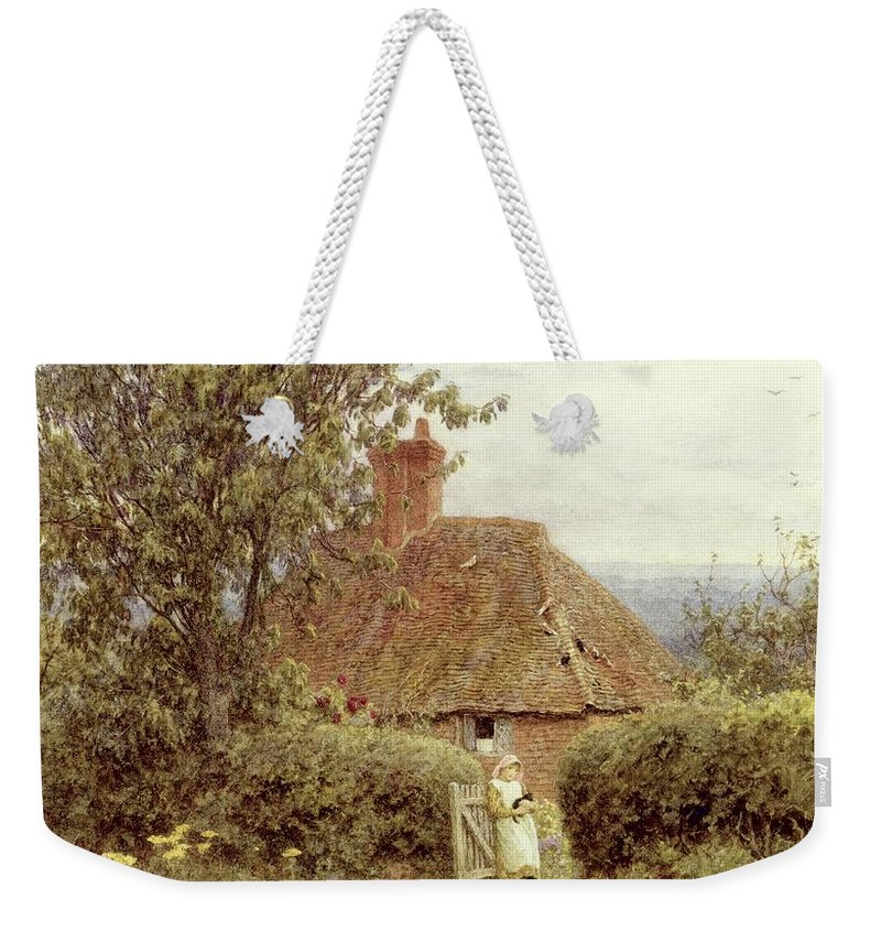 Cottage; Child; Gate; Rural Scene; Country; Countryside; Home; House; Kitten; Path; Wildflowers; Picturesque; Idyllic; Female Weekender Tote Bag featuring the painting Near Haslemere by Helen Allingham
