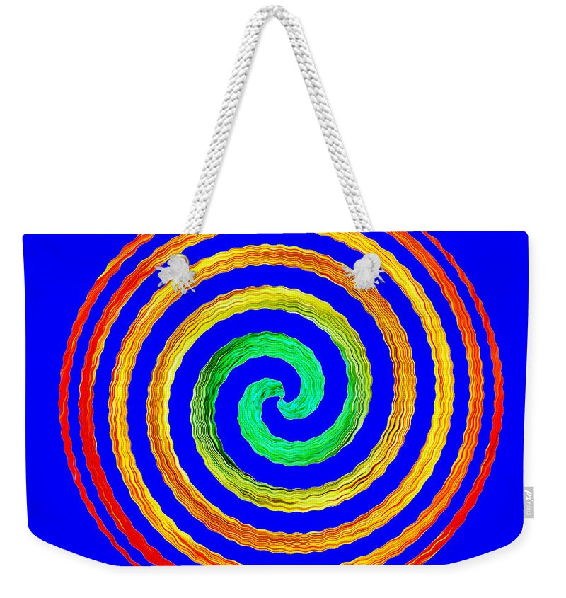 Gerbera Weekender Tote Bag featuring the photograph Neon Spiral Blue by Chris Day