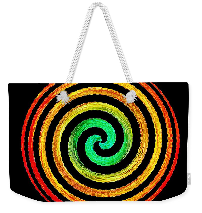 Gerbera Weekender Tote Bag featuring the photograph Neon Spiral by Chris Day