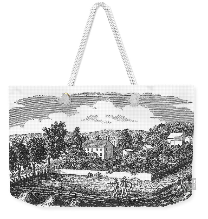 1810 Weekender Tote Bag featuring the photograph New Jersey Farm, C1810 by Granger