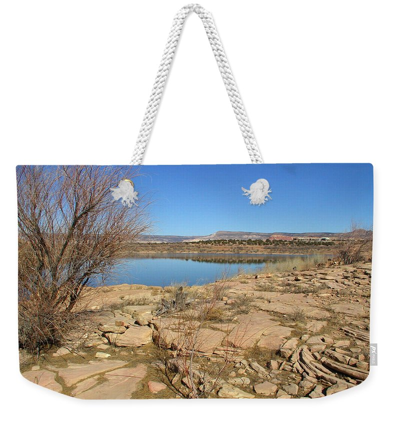 Lake Weekender Tote Bag featuring the photograph New Mexico Series - Abiquiu Lake IIi by Kathleen Grace