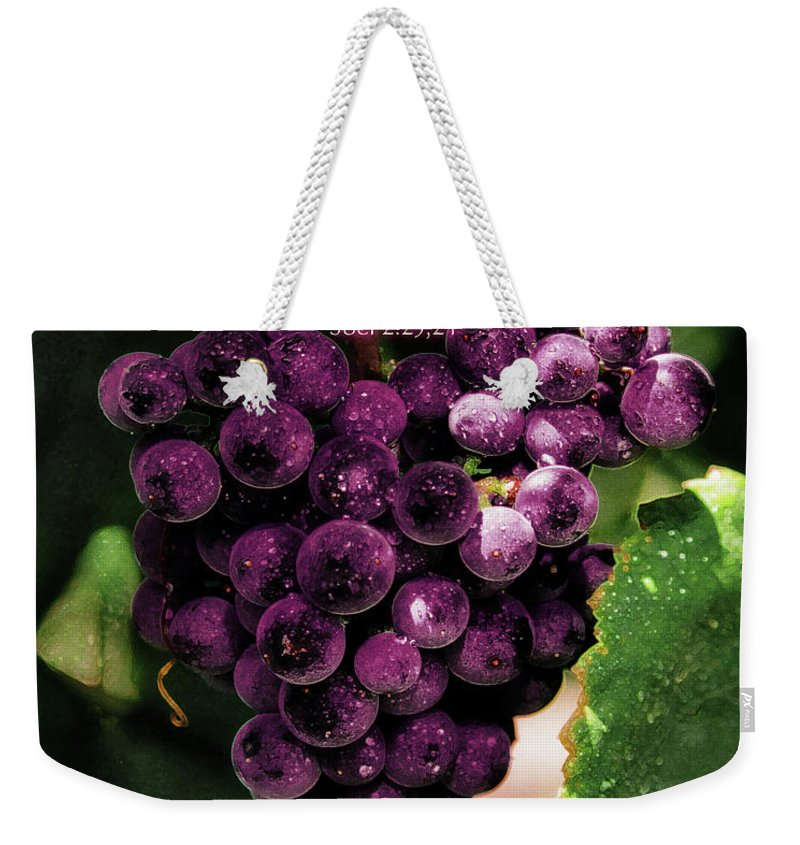 Grapes Art Weekender Tote Bag featuring the painting New Wine And Oil by Constance Woods