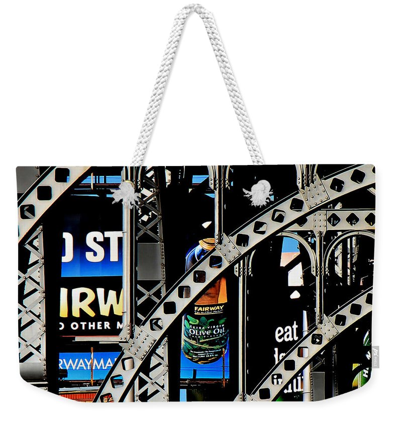 New York Weekender Tote Bag featuring the photograph New York Abstract 1 by Andrew Fare