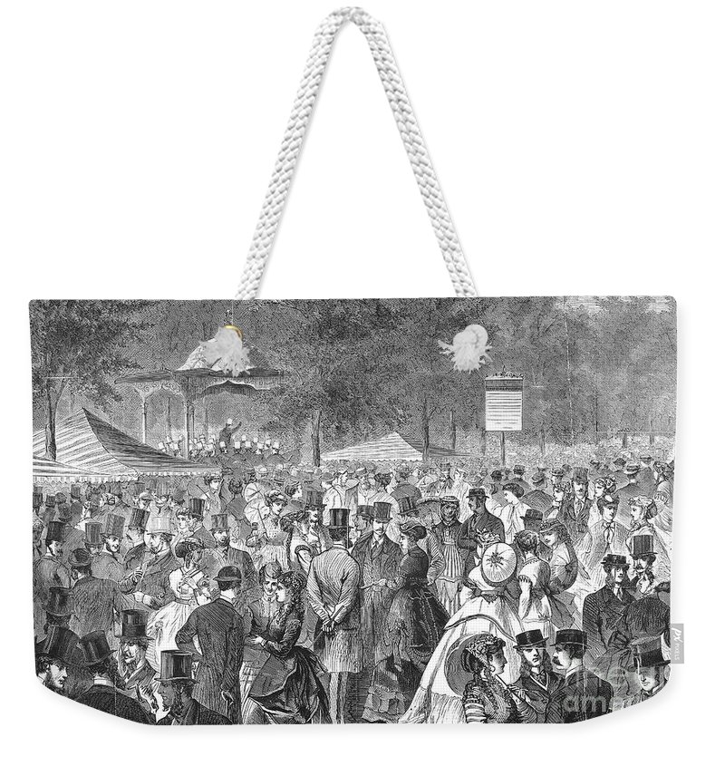 1869 Weekender Tote Bag featuring the photograph New York: Bandstand, 1869 by Granger