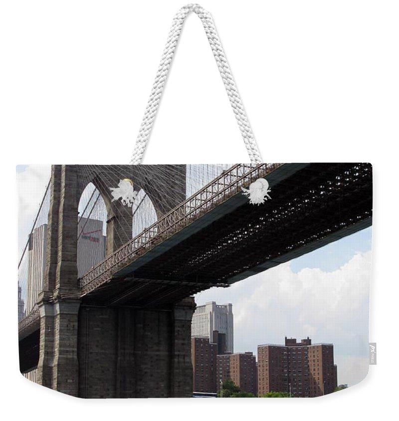 Urban Weekender Tote Bag featuring the photograph New York Bridges 1- Brooklyn Bridge by Ausra Huntington nee Paulauskaite