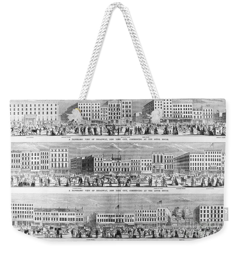 1851 Weekender Tote Bag featuring the photograph New York: Broadway, 1851 by Granger