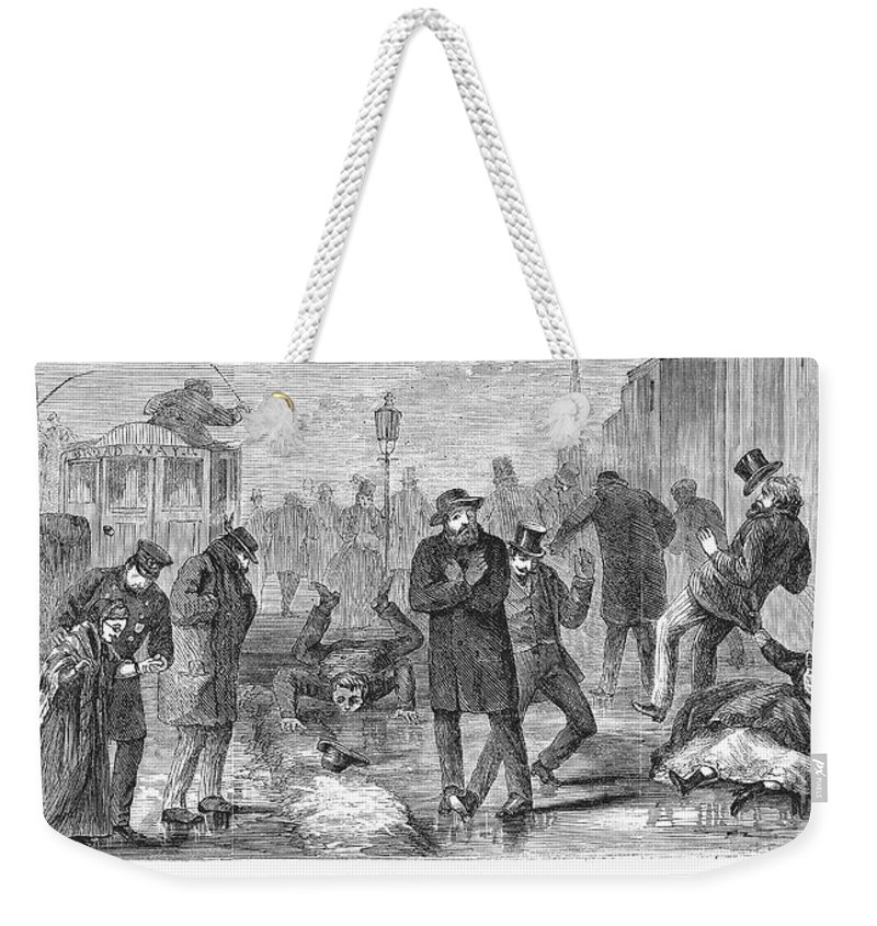 1868 Weekender Tote Bag featuring the photograph New York City: Winter by Granger
