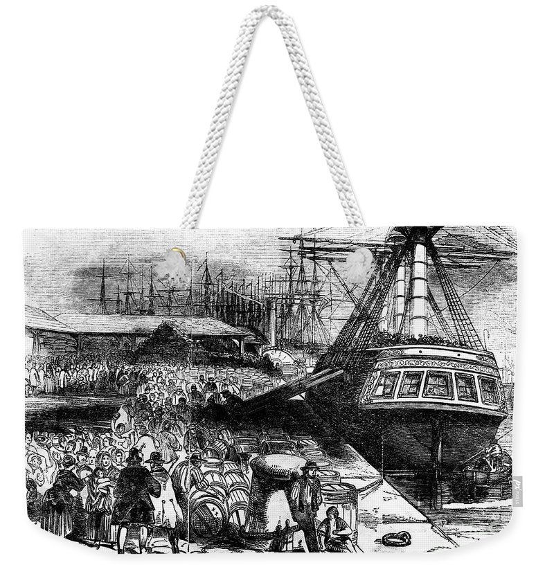 1854 Weekender Tote Bag featuring the photograph New York: Immigrants, 1854 by Granger