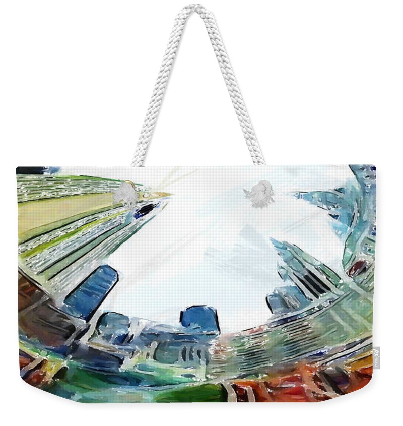 New York Nyc Ny Big Apple Skyline Frog View Down Up Look Looking Street Block Painting Skyscraper Expressionism Impressionism Color Colorful Weekender Tote Bag featuring the painting New York Looking Up The Sky by Steve K