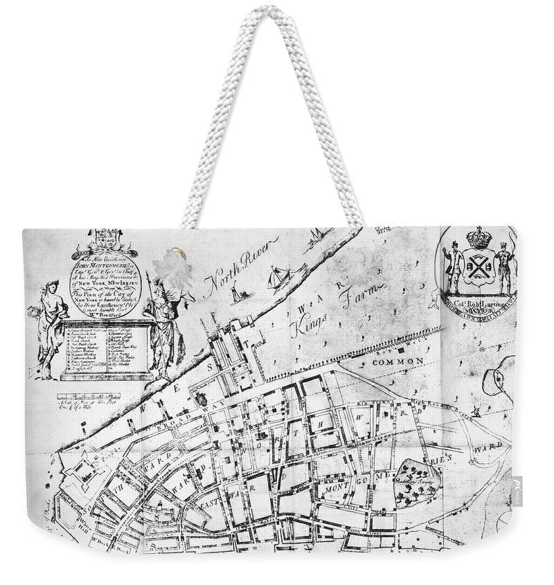 1730 Weekender Tote Bag featuring the photograph New York Map, 1730 by Granger