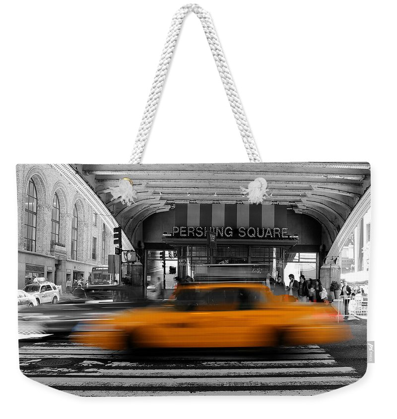 New York Weekender Tote Bag featuring the photograph New York Taxi 1 by Andrew Fare