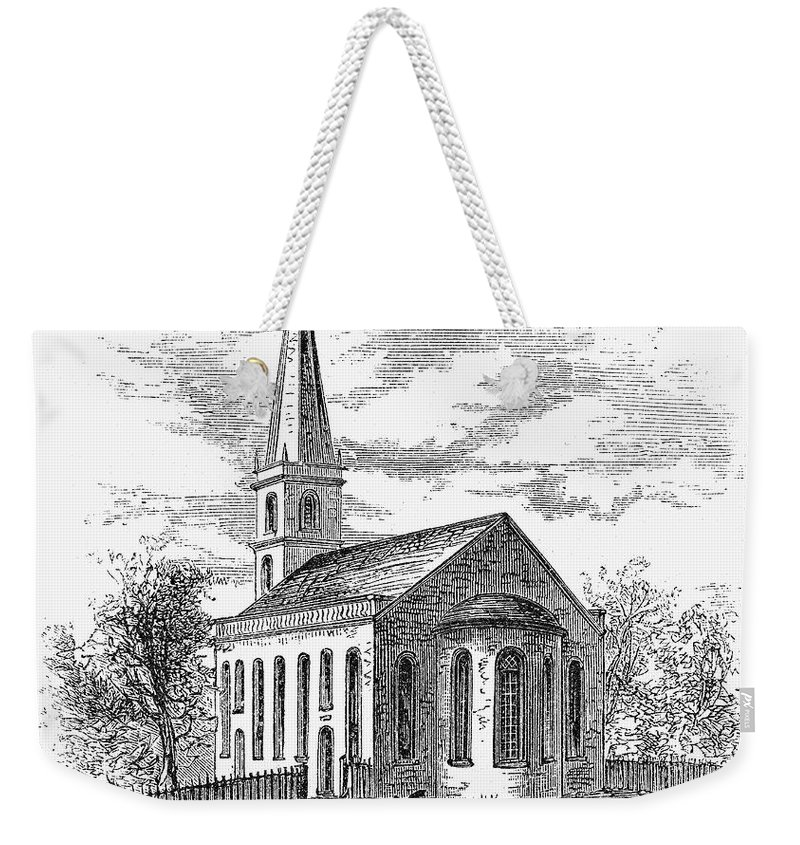 1775 Weekender Tote Bag featuring the photograph New York: Trinity Church by Granger