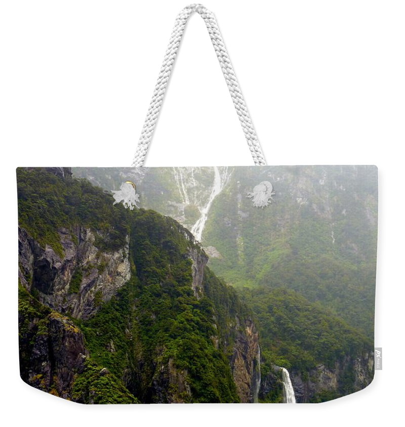 Milford Weekender Tote Bag featuring the photograph New Zealand's Milford Sound by Carla Parris