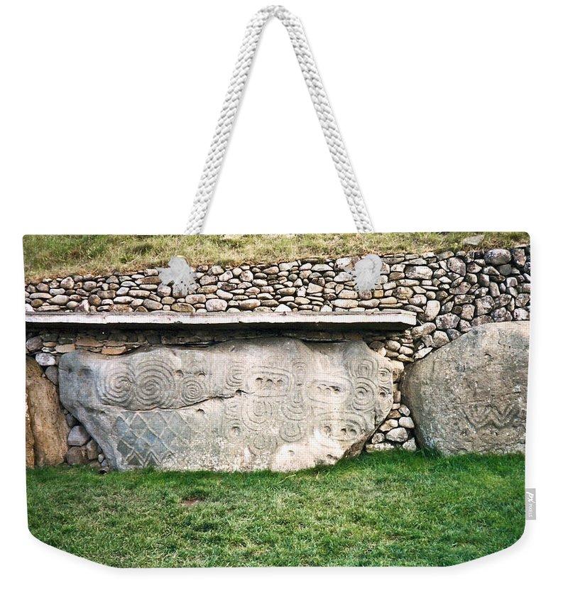 Newgrange Weekender Tote Bag featuring the photograph Newgrange Runes by Douglas Barnett