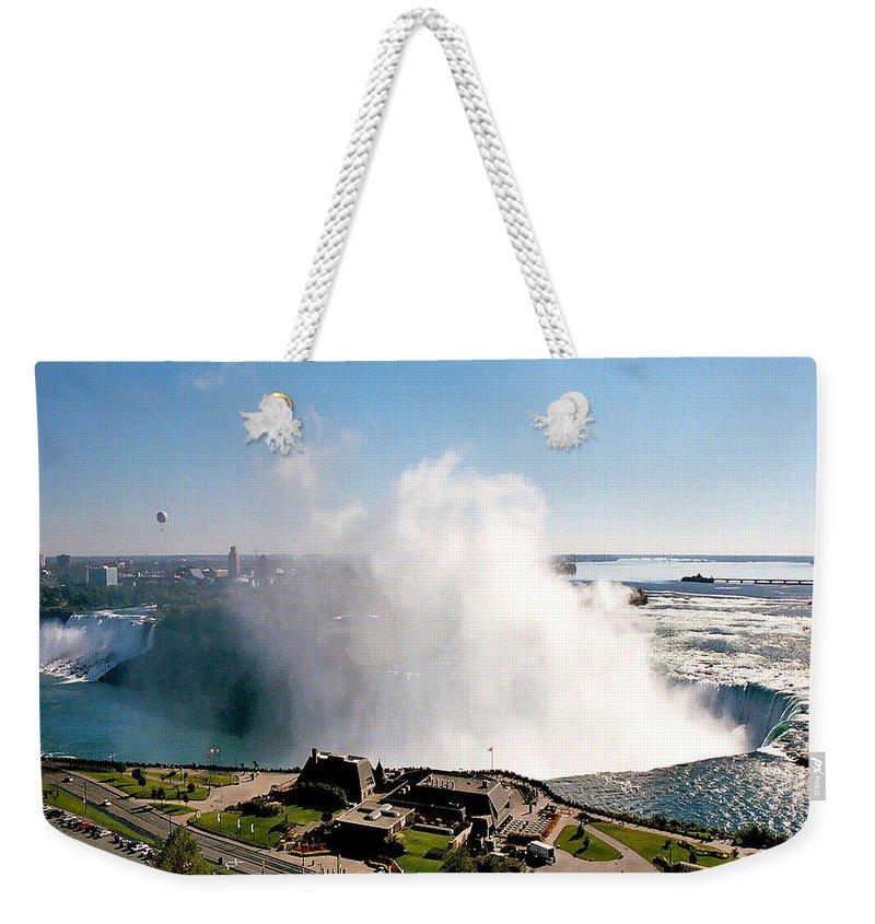 Niagara Falls Weekender Tote Bag featuring the photograph Niagara Falls From Above by Diana Haronis