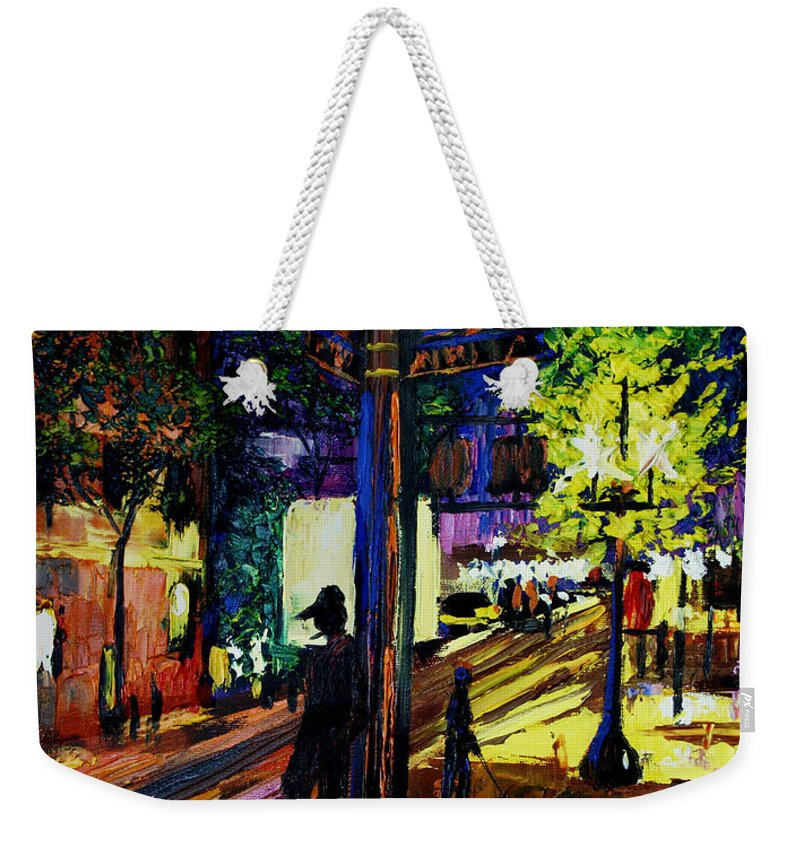 Night Moves Framed Prints Weekender Tote Bag featuring the painting Night Moves by Anthony Falbo